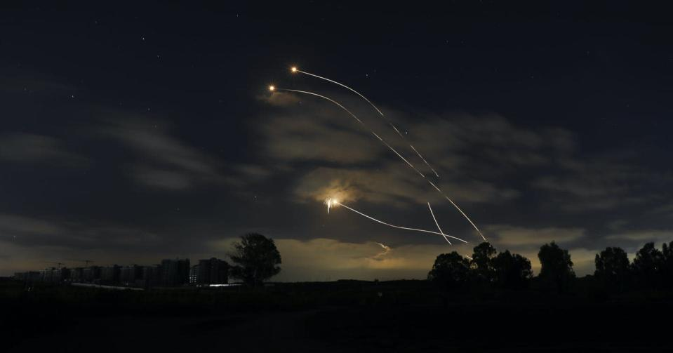 """<span class=""""caption"""">Israeli Iron Dome air defense system launches to intercept rockets fired from Gaza Strip, near Sderot, Israel.</span> <span class=""""attribution""""><span class=""""source"""">(AP Photo/Ariel Schalit)</span></span>"""