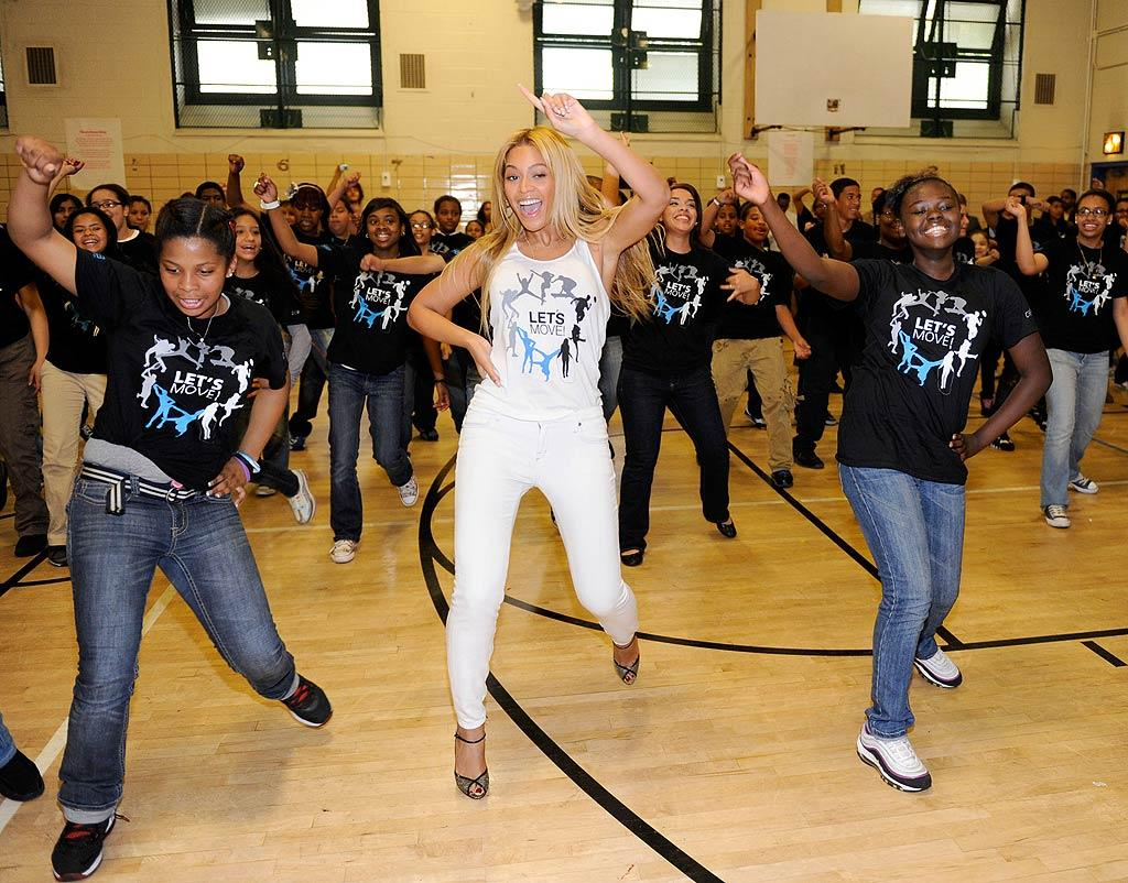 "Students at PS 161 in Harlem, New York, were jamming to a Beyonce tune during gym class Tuesday as part of First Lady Michelle Obama's ""Let's Move"" campaign -- which was launched in an effort to combat childhood obesity -- when they got the shock of their young lives when the pop queen herself showed up! Beyonce jumped in on the dance routine, and although the kids screamed with delight, they kept on going and didn't miss a beat. Kevin Mazur/<a href=""http://www.wireimage.com"" target=""new"">WireImage.com</a> - May 3, 2011"