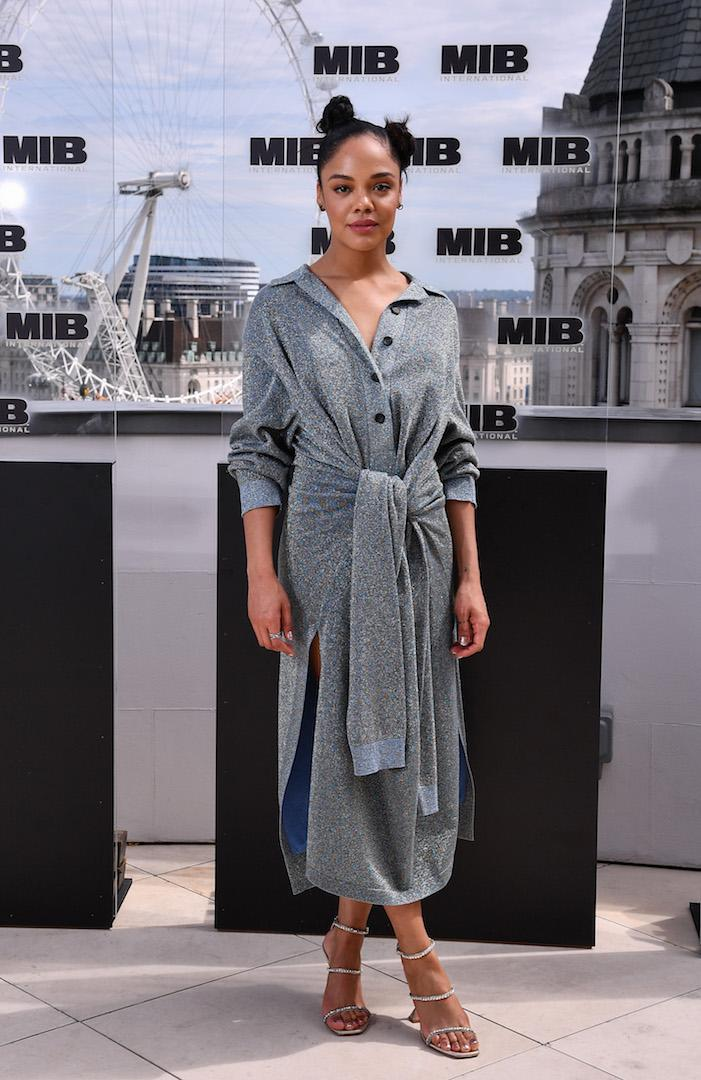 Tessa Thompson is fast becoming our style muse and this Lanvin shirt dress just explained why. She finished the look with nineties strappy heels by Amina Muaddi - the perfect touch. <em>[Photo: Getty]</em>