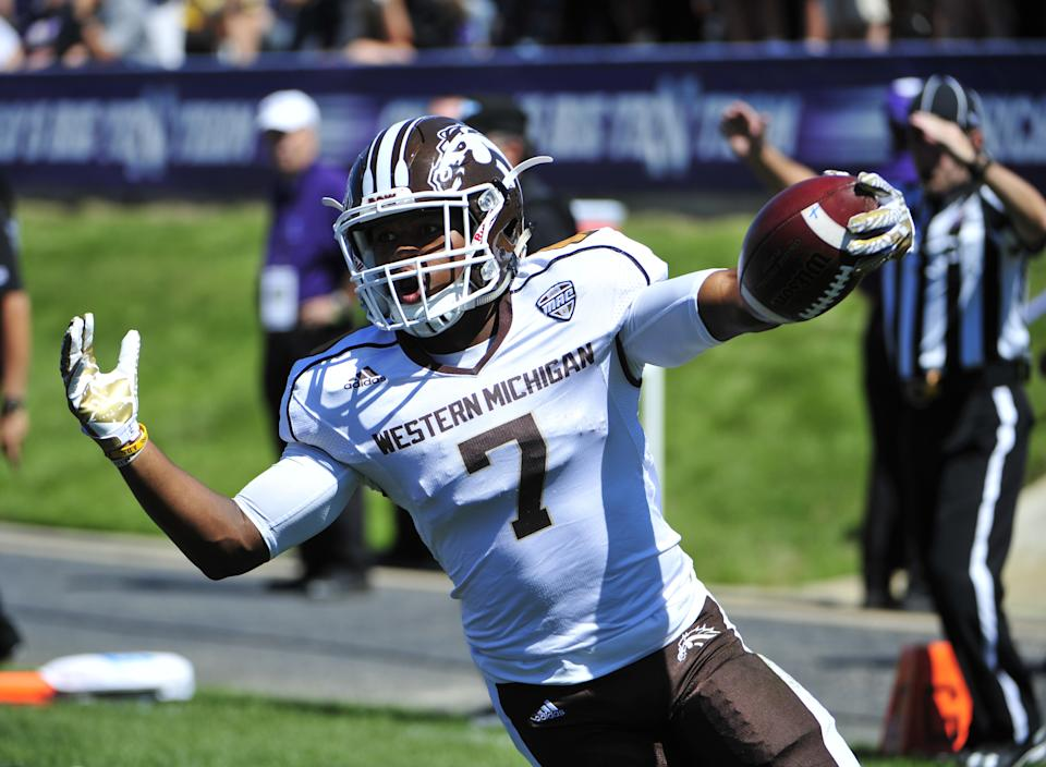 Western Michigan's two-way star, D'Wayne Eskridge, has game-changing speed. (Photo by David Banks/Getty Images)