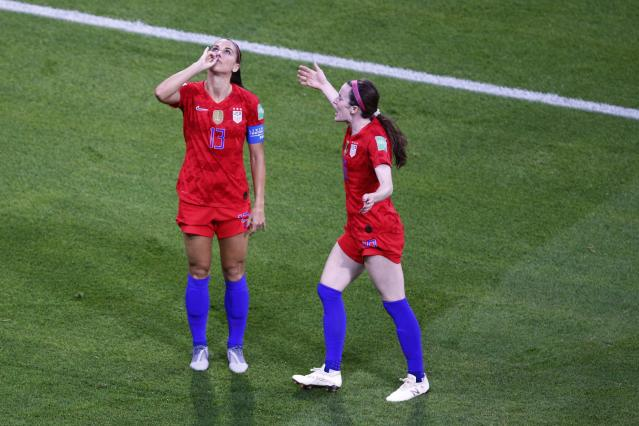 United States' Alex Morgan celebrates what ended up being the winning goal (AP Photo/Francois Mori)