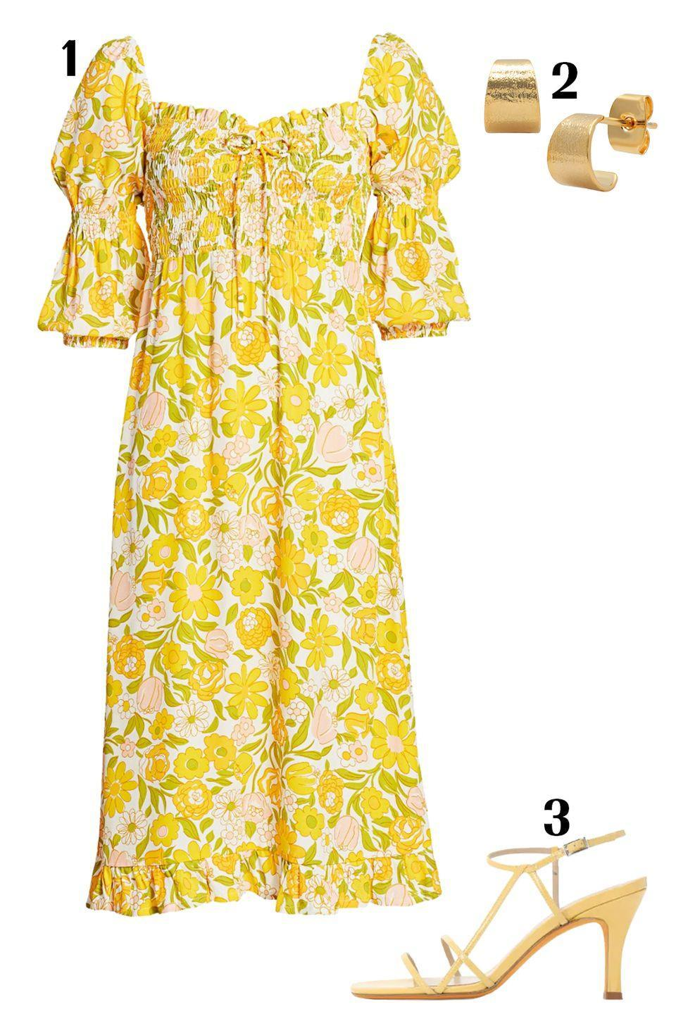 "<p>Florals: the ultimate anti-depressant. Pair this ulta-girly floral dress with small hoops and matching heels for a look that exudes joy.</p><p>1) <a href=""https://www.saksfifthavenue.com/faithfull-the-brand-nora-floral-midi-dress/product/0400011940380?ranMID=13816&ranEAID=J84DHJLQkR4&ranSiteID=J84DHJLQkR4-egobOI0ZBi87rmLlqUmp8w&site_refer=AFF001&mid=13816&siteID=J84DHJLQkR4-egobOI0ZBi87rmLlqUmp8w&LSoid=684233&LSlinkid=10&LScreativeid=1"" rel=""nofollow noopener"" target=""_blank"" data-ylk=""slk:Faithfull the Brand dress"" class=""link rapid-noclick-resp"">Faithfull the Brand dress</a>, $113 2) <a href=""https://www.taijewelry.com/collections/50-and-under/products/cuff-hoop"" rel=""nofollow noopener"" target=""_blank"" data-ylk=""slk:Tai hoops"" class=""link rapid-noclick-resp"">Tai hoops</a>, $40 3) <a href=""https://www.luisaviaroma.com/en-us/p/maryam-nassir-zadeh/women/71I-XS1003?ColorId=MzE4IFNBSEFSQQ2&lvrid=_p_dCD8_gw&AID=10617612&PID=2178999&SID=4491232206&utm_source=CommissionJunction&utm_medium=affiliation&utm_content=2178999&utm_campaign=1909792&CJEVENT=b824456a7e6c11ea802c010f0a24060e&click_id=b824456a7e6c11ea802c010f0a24060e"" rel=""nofollow noopener"" target=""_blank"" data-ylk=""slk:Maryam Nassir Zadeh heels"" class=""link rapid-noclick-resp"">Maryam Nassir Zadeh heels</a>, $527</p><p><em><em>For more stories like this, including celebrity news, beauty and fashion advice, savvy political commentary, and fascinating features, sign up for the </em>Marie Claire<em> newsletter.</em></em></p><p><a href=""https://preferences.hearstmags.com/brands/MAR/subscribe.aspx?authId=F0CC0C27-80DA-4734-ABDF-E4115B84A56B&maj=WNL&min=ARTICLES"" rel=""nofollow noopener"" target=""_blank"" data-ylk=""slk:SUBSCRIBE HERE"" class=""link rapid-noclick-resp"">SUBSCRIBE HERE</a></p>"