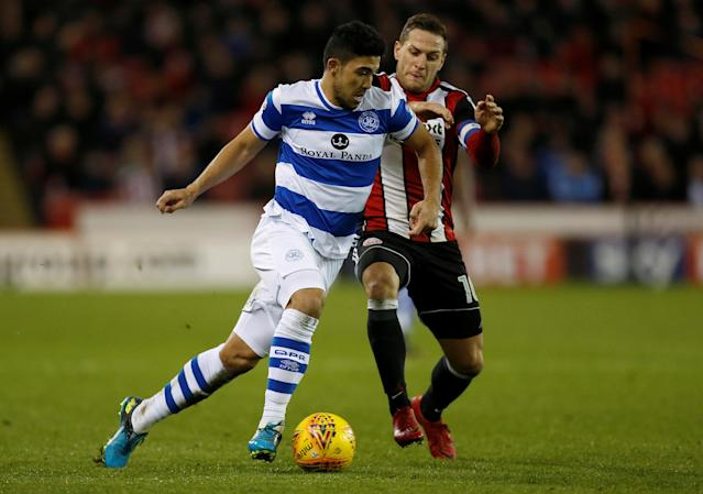 "Soccer Football - Championship - Sheffield United vs Queens Park Rangers - Bramall Lane, Sheffield, Britain - February 20, 2018 Queens Park Rangers' Massimo Luongo in action with Sheffield United's Billy Sharp Action Images/Ed Sykes EDITORIAL USE ONLY. No use with unauthorized audio, video, data, fixture lists, club/league logos or ""live"" services. Online in-match use limited to 75 images, no video emulation. No use in betting, games or single club/league/player publications. Please contact your account representative for further details."