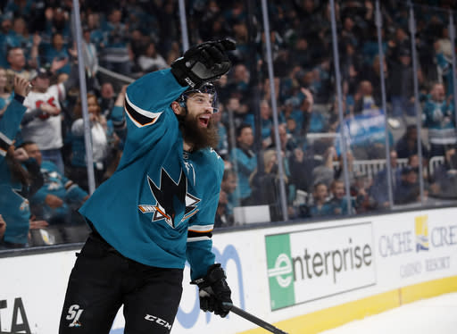 San Jose Sharks defenseman Brent Burns (88) celebrates after scoring a goal against the Dallas Stars during the first period of an NHL hockey game in San Jose, Calif., Saturday, Jan. 11, 2020. (AP Photo/Josie Lepe)