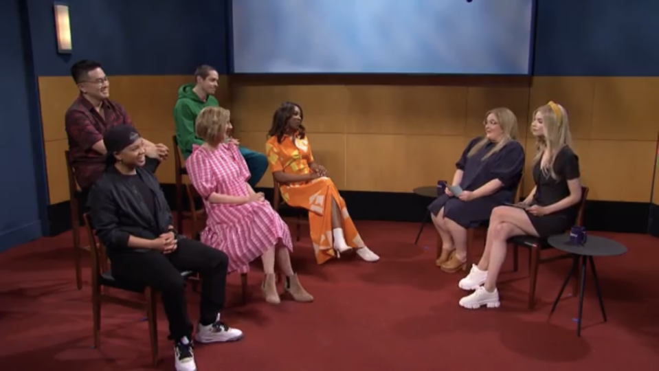 Anya Taylor-Joy and Aidy Bryant interview the cast of a fictional comedy series on SNL