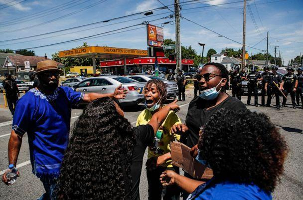 PHOTO: Emotions overtook some as hundreds gathered to protest the death of David McAtee, a beloved BBQ owner who shot and killed amid gunfire by LMPD and Kentucky National Guard early Monday morning in Louisville., Kentucky, June 1, 2020.<p>(Matt Stone/Courier Journal via USA TODAY Network)</p>