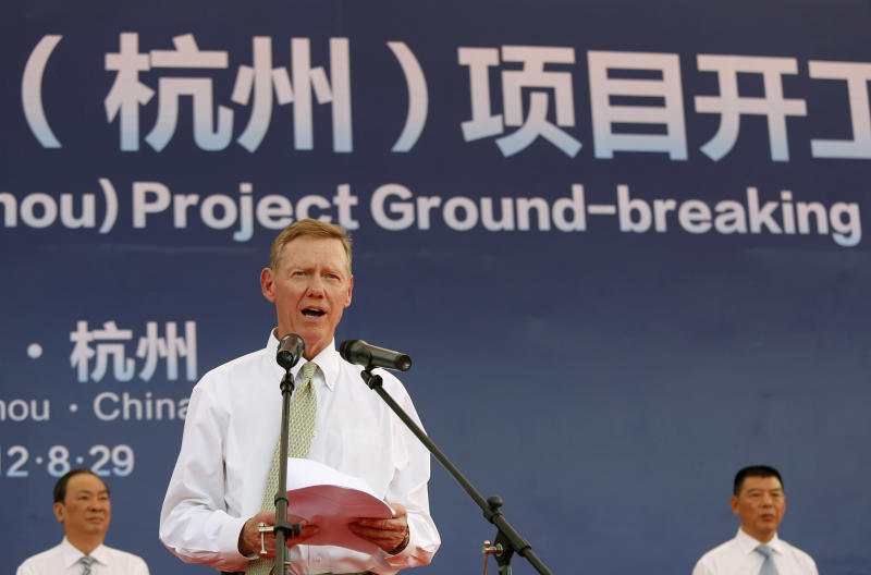 Alan Mulally, President and CEO of Ford Motor Co., delivers a speech during the Ford Hangzhou project groundbreaking ceremony in Hangzhou, China, Wednesday Aug. 29, 2012. Ford Motor Co. is developing a lower-priced small car for the Chinese market but has no plans to start a separate, cheaper brand in China as rivals General Motors and Volkswagen have. (AP Photo)