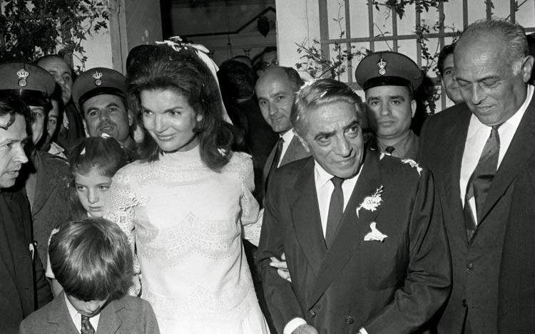 Jackie leaving the chapel with her new husband, Greek shipping magnate Aristotle Onassis. Source: Supplied