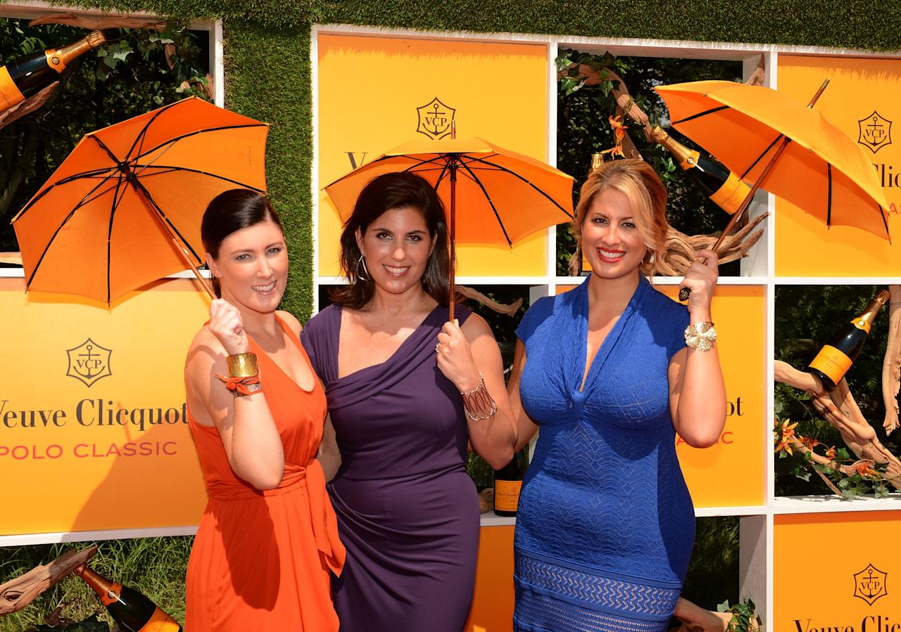 JERSEY CITY, NJ - JUNE 02:  Bernadette Knight, Vanessa Kay and Christine Kaculis attend the fifth annual Veuve Clicquot Polo Classic on June 2, 2012 in Jersey City.  (Photo by Andrew H. Walker/Getty Images for Veuve Clicquot Polo Classic)