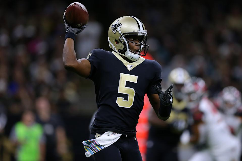 NEW ORLEANS, LOUISIANA - OCTOBER 06: Teddy Bridgewater #5 of the New Orleans Saints throws the ball during the second half of a game against the Tampa Bay Buccaneers at the Mercedes Benz Superdome on October 06, 2019 in New Orleans, Louisiana. (Photo by Jonathan Bachman/Getty Images)