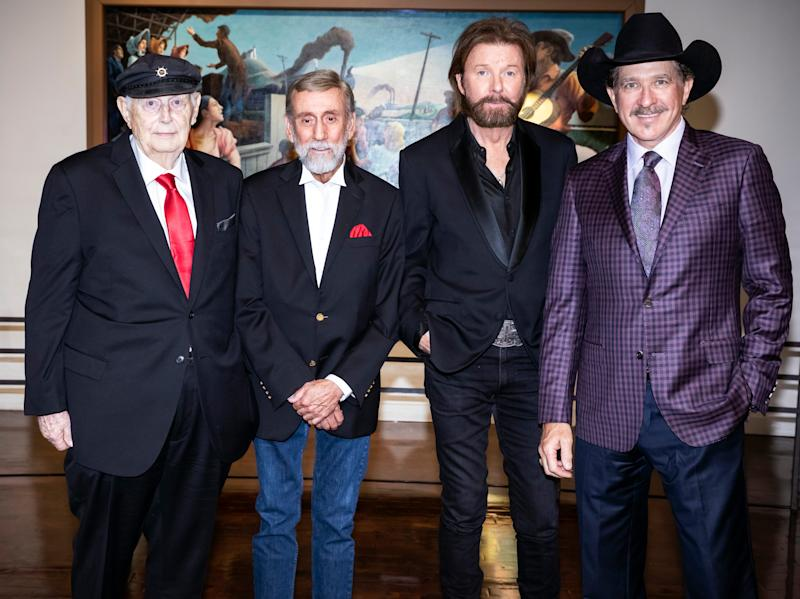 Jerry Bradley, Ray Stevens, Ronnie Dunn and Kix Brooks are photographed before their Medallion Ceremony at the Country Music Hall of Fame Sunday, October 20, 2019.