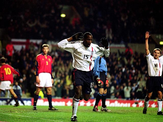Ehiogu's only goal for England came against Spain in February 2001 (Getty)