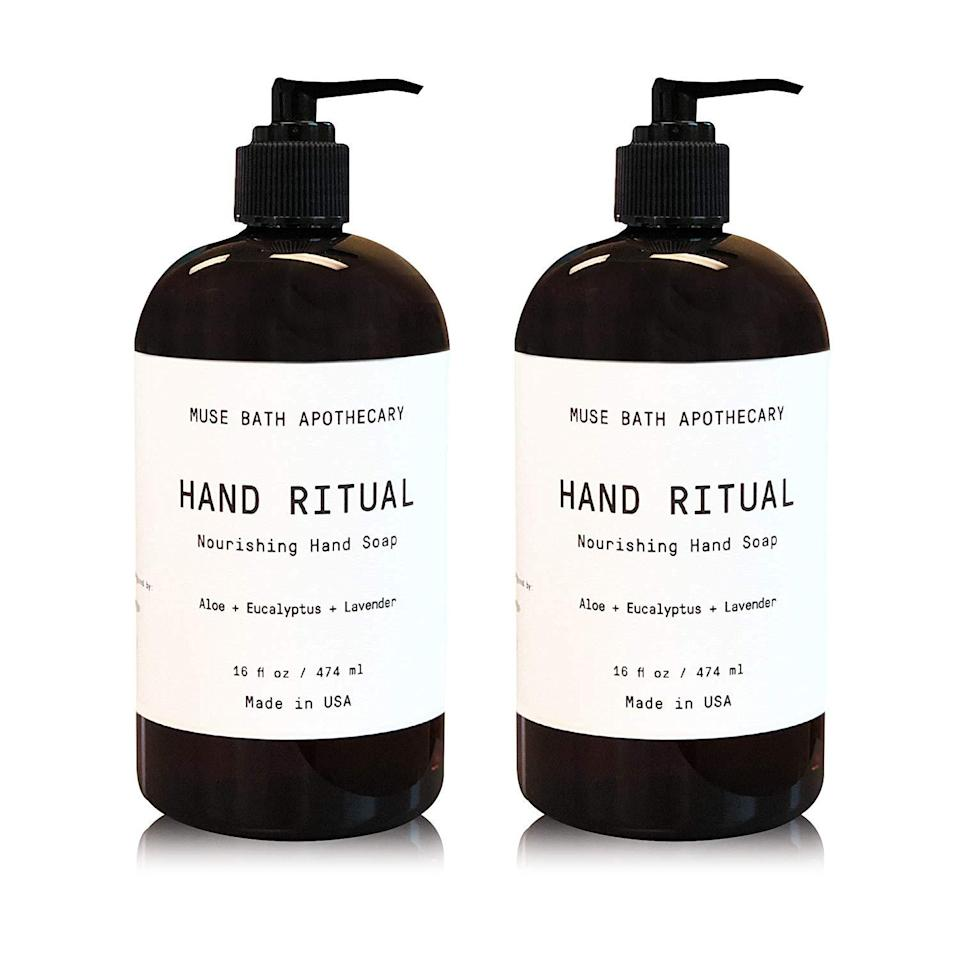 """<h2>Hand Soaps<br></h2><br><h3>Muse Bath Apothecary Hand Ritual Soap </h3><br>A little bottle of premium hand soap goes a long way when it comes to elevating a space. This two-bottle pack filled with aloe, eucalyptus, and lavender essential oils does the luxe trick for under $20. If you want, you can refill its minimalist-chic bottle with the generic store-brand stuff after it runs out (we won't tell).<br><br><em>Shop <strong><a href=""""https://amzn.to/3l0ju8x"""" rel=""""nofollow noopener"""" target=""""_blank"""" data-ylk=""""slk:Amazon"""" class=""""link rapid-noclick-resp"""">Amazon</a></strong></em><br><br><strong>Muse Bath Apothecary</strong> Hand Ritual Soap, 16 oz (2 Pack), $, available at <a href=""""https://amzn.to/3l0ju8x"""" rel=""""nofollow noopener"""" target=""""_blank"""" data-ylk=""""slk:Amazon"""" class=""""link rapid-noclick-resp"""">Amazon</a>"""