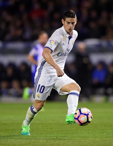 Real Madrid's midfielder James Rodriguez controls the ball during the Spanish April 26, 2017