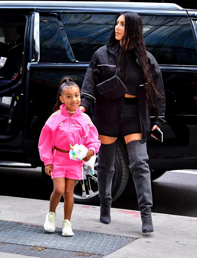 North West, the day before her fifth birthday, and Kim Kardashian in New York City, June 2018.