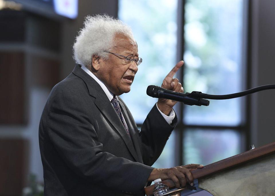 <p>91 year-old Civil Rights icon Reverend James M. Lawson spoke, honoring his longtime friend Lewis. </p>