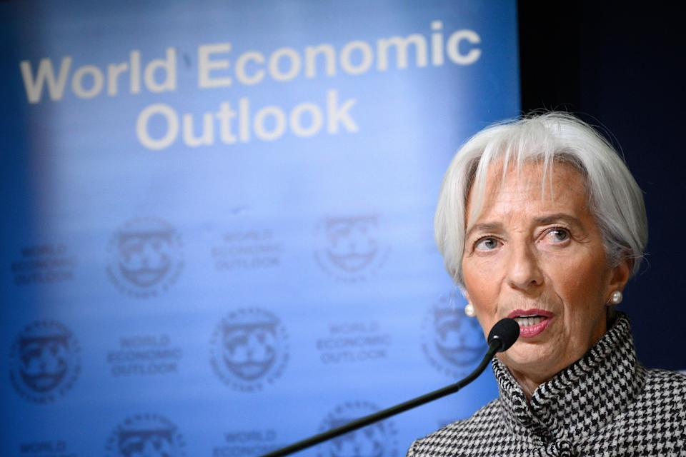 International Monetary Fund (IMF) Managing Director Christine Lagarde gives a press conference on IMF World Economic Outlook ahead of the World Economic Forum (WEF) annual meeting on January 21, 2019 in Davos, eastern Switzerland. (Photo by Fabrice COFFRINI / AFP)        (Photo credit should read FABRICE COFFRINI/AFP/Getty Images)