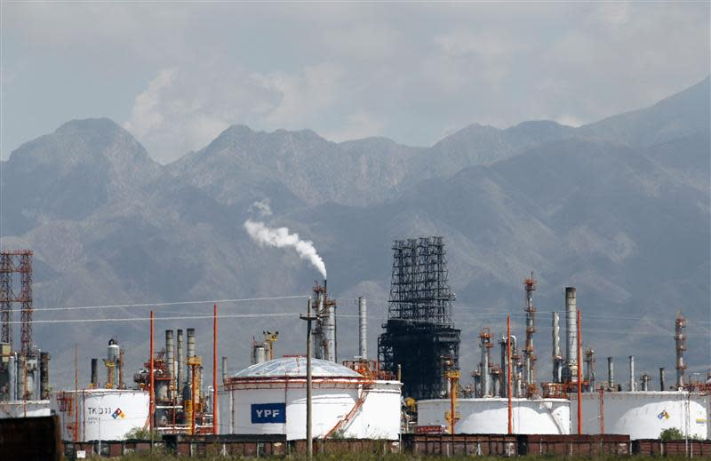 A refinery of petrol company YPF is seen in Lujan De Cuyo, in the Andean Argentine province of Mendoza