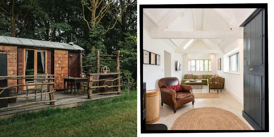 """<p>The perfect place for a <a href=""""https://www.elle.com/uk/life-and-culture/culture/g33261665/coastal-cottages/"""" rel=""""nofollow noopener"""" target=""""_blank"""" data-ylk=""""slk:coastal"""" class=""""link rapid-noclick-resp"""">coastal</a> or <a href=""""https://www.elle.com/uk/life-and-culture/travel/g33949169/english-country-cottages/"""" rel=""""nofollow noopener"""" target=""""_blank"""" data-ylk=""""slk:country escape"""" class=""""link rapid-noclick-resp"""">country escape</a> in autumn, Norfolk is home to adorable cottages, quirky shepherd's huts and sprawling beachfront retreats that make browsing the best Airbnbs in Norfolk a treat.</p><p><a class=""""link rapid-noclick-resp"""" href=""""https://airbnb.pvxt.net/QOnge6"""" rel=""""nofollow noopener"""" target=""""_blank"""" data-ylk=""""slk:BEST AIRBNBS IN NORFOLK"""">BEST AIRBNBS IN NORFOLK</a></p><p>Luckily for you, we've done the digging to bring you the loveliest, cosiest and most scenic places to check into this season for a wonderful staycation in Norfolk - whether you're after a luxury <a href=""""https://www.elle.com/uk/life-and-culture/travel/g36410749/airbnbs-with-hot-tubs/"""" rel=""""nofollow noopener"""" target=""""_blank"""" data-ylk=""""slk:Airbnb with a hot tub"""" class=""""link rapid-noclick-resp"""">Airbnb with a hot tub</a> or something adorable and romantic for two.</p><p>Looking for an Airbnb on Norfolk's coast? We've found just the place in the seaside village of Mundesley - and it's large enough for a group of family or friends, too. Prefer a romantic country bolthole for two? You'll want to check out the stylishly converted train carriage in Shropham we found. </p><p>And if you're after something glamorous with its own snooker room and impressive gym, you'll want to have a peek inside one family-sized pad in the village of Clippesby, close to the Norfolk Broads and only 20 minutes away from the city sights of Norwich.</p><p><strong>Have a scroll through our pick of the best Airbnbs in Norfolk for a 2021 escape:</strong></p>"""