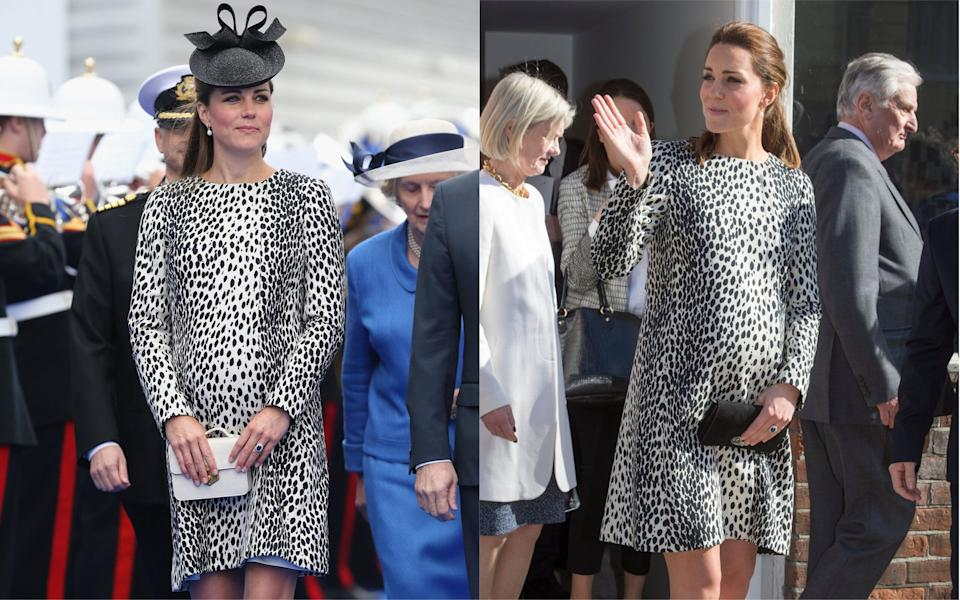 The Duchess of Cambridge recycled a Hobbs coat first worn in 2013 while pregnant with Princess Charlotte [Photo: Getty]