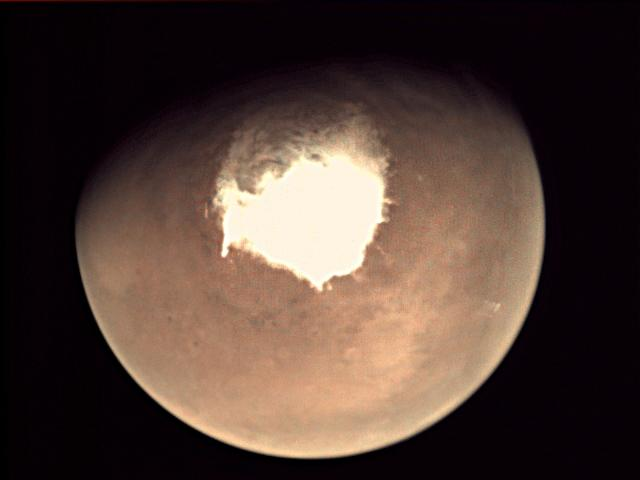 This handout picture released on October 16, 2016 by the European Space Agency (ESA) shows planet Mars as seen by the webcam on ESA's Mars Express orbiter (AFP Photo/HO)
