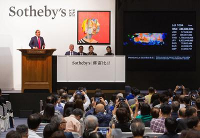 Sotheby's 2018 auction sales in Asia reached $1 billion, the highest total in Company history and leading the market for the third year in a row. Pictured here is Sotheby's UK Chairman Harry Dalmeny presiding over the record-breaking sale of a 1985 masterpiece by Zao Wou-Ki for $65 million, the most valuable painting sold by any auction house in Asia.