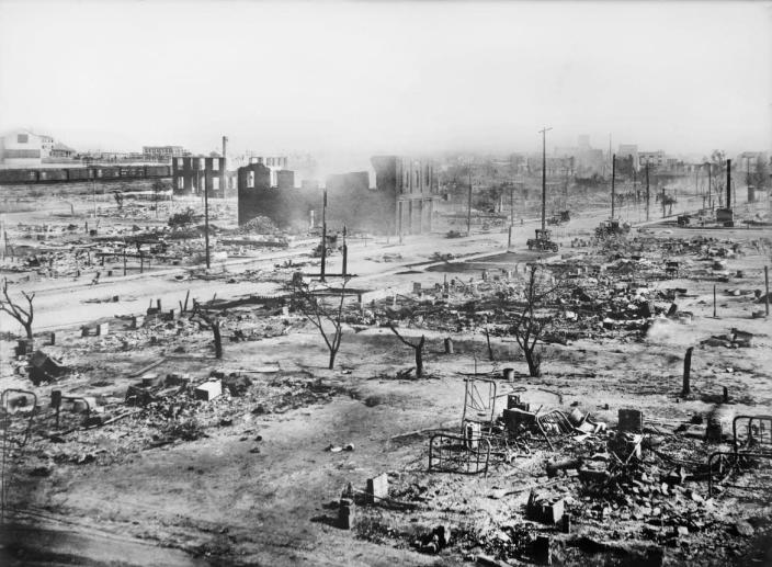 """<div class=""""inline-image__caption""""><p>""""Ruins of Greenwood District after Race Riots, Tulsa, Oklahoma, USA, American National Red Cross Photograph Collection, June 1921""""</p></div> <div class=""""inline-image__credit"""">Universal History Archive/Getty</div>"""