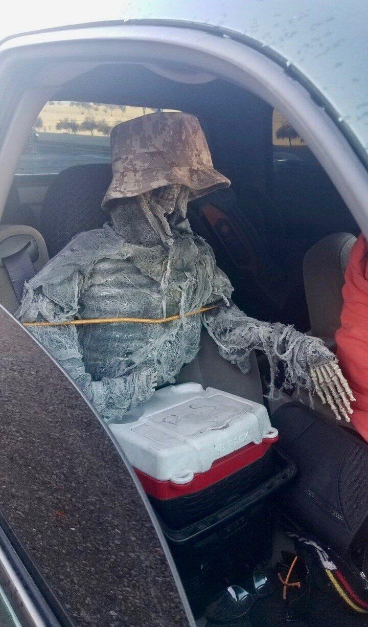 The dressed-up skeleton in the car discovered by officers.  (Photo: Arizona Department of Public Safety )