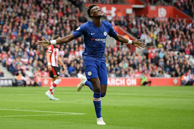 Abraham celebrates his eighth goal of the campaign (Photo by Darren Walsh/Chelsea FC via Getty Images)