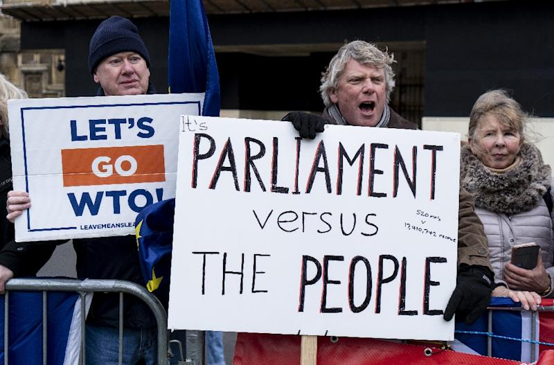 The British parliament has been deadlocked for months over Brexit, with MPs unable to decide how to implement the referendum result, and voters themselves are also sharply divided (AFP Photo/Niklas HALLE'N)