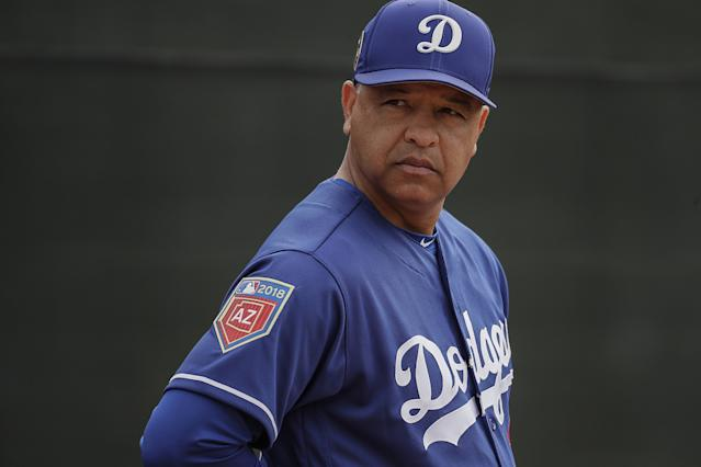 """Dodgers manager Dave Roberts watches over a spring training workout at the Camelback Ranch complex in Phoenix. <span class=""""copyright"""">(Robert Gauthier / Los Angeles Times)</span>"""