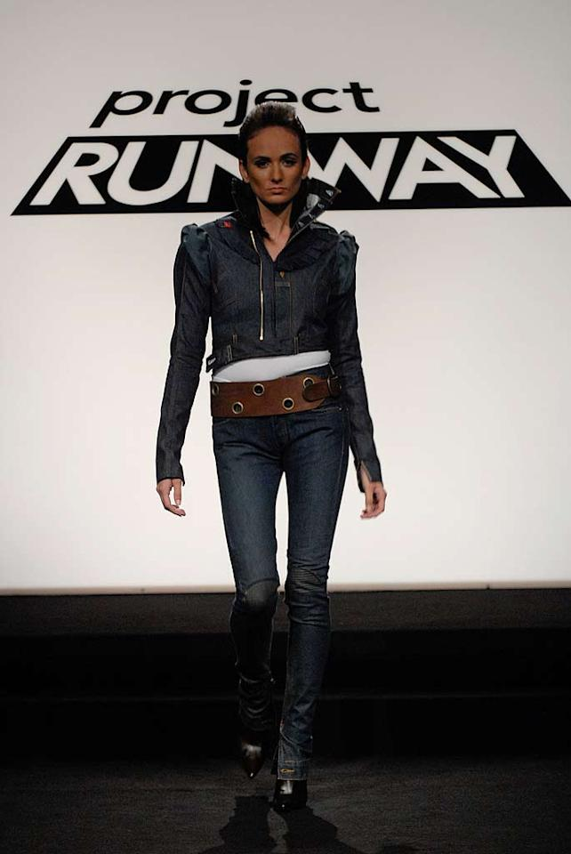 """""""Even Designers Get the Blues"""" design challenge on Season 4 of <a href=""""/project-runway/show/36319"""">Project Runway</a>. Lisa in a design by Christian."""
