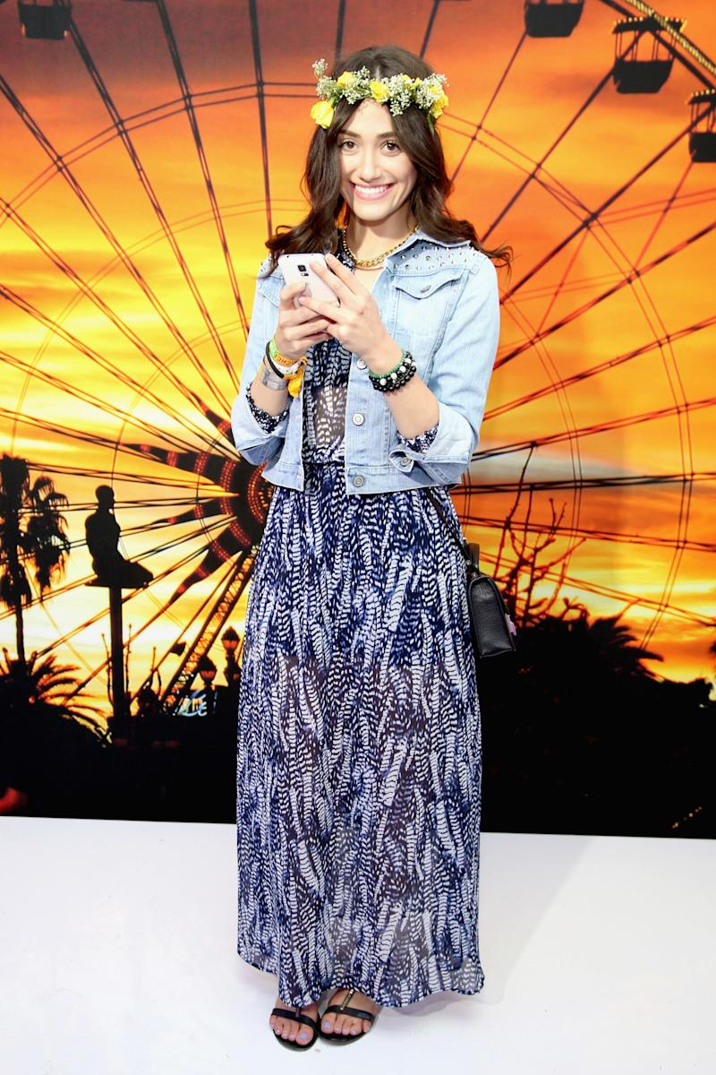 Emmy Rossum attends the Coachella Music Festival in Indio, California.