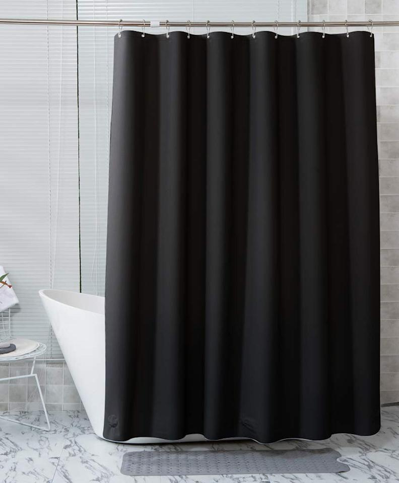 "<p>If you'd prefer not to purchase both a liner and a shower curtain, opt for a heavy-duty plastic curtain that can work on its own and provide the same waterproof benefits of a liner. Amazer's curtain is made of a sturdy waterproof material, and it's available in a variety of colors and sizes. An Amazon best-seller, it has racked up <a href=""https://www.amazon.com/product-reviews/B07NRZ8C2Q/ref=as_li_ss_tl?ie=UTF8&linkCode=ll2&tag=rsbestshowercurtainsccalucchia0220-20&linkId=302dddb698a32815be0b309c8ded8b7f&language=en_US"">more than 1,400 five-star reviews</a> from customers who say it's thick, durable, and easy to clean.</p> <p><strong>To buy:</strong> $14; <a href=""https://www.amazon.com/Amazer-Rust-Resistant-Waterproof-Bathroom-Odor-Black/dp/B07NRZ8C2Q/ref=as_li_ss_tl?ie=UTF8&linkCode=ll1&tag=rsbestshowercurtainsccalucchia0220-20&linkId=d64ee00a4c1df4c4d9fee2ab7f04cad2&language=en_US"">amazon.com</a>.</p>"