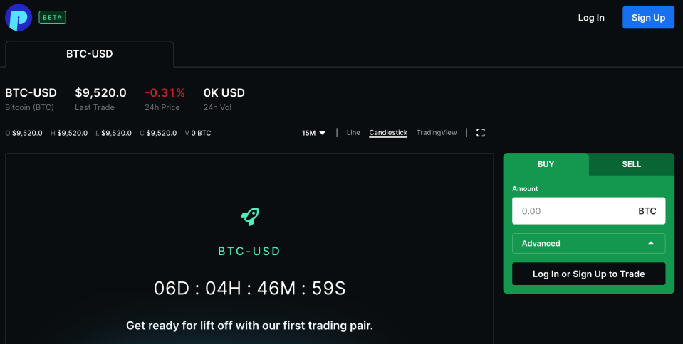 Beta layout of Blockchain's new crypto exchange The PIT