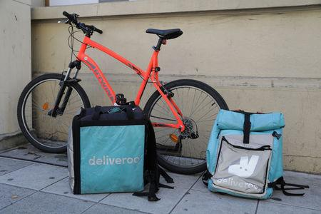 FILE PHOTO: Deliveroo food delivery bags are seen in Nice