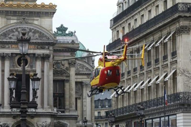 Paris explosion: Rescue helicopters were landed in front of the historic Garnier Opera house to evacuate people injured in the explosion.