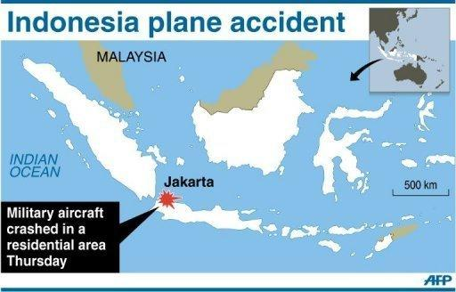 Map of Indonesia locating Jakarta, where a military Fokker plane crashed in a housing complex Thursday. The number of people killed when the jet crashed has risen to 11, an air force spokesman said Friday
