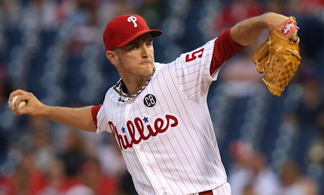 Philadelphia Phillies pitcher David Buchanan throws in the first inning of a baseball game with the St Louis Cardinals, Saturday, Aug. 23, 2014, in Philadelphia. (AP Photo/Laurence Kesterson)