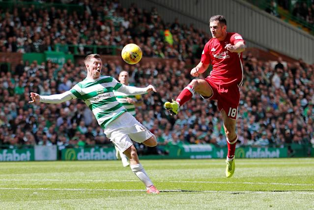 Soccer Football - Scottish Premiership - Celtic vs Aberdeen - Celtic Park, Glasgow, Britain - May 13, 2018 Aberdeen's Dominic Ball in action with Celtic's Callum McGregor REUTERS/Russell Cheyne