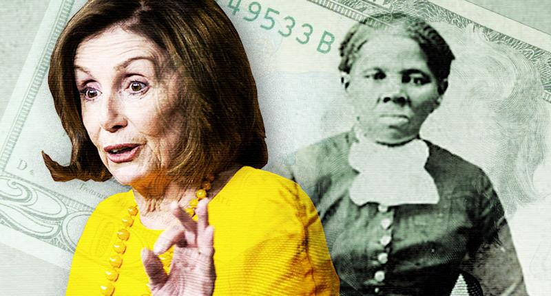 House Speaker Nancy Pelosi and Harriet Tubman (Photo illustration: Yahoo News; photos: Al Drago/Reuters, LOC via Reuters, AP)