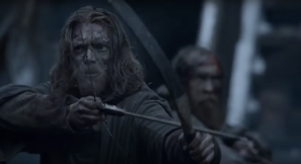 Actor Andrew Dunbar is pictured holding a bow and arrow in an episode of Game of Thrones.