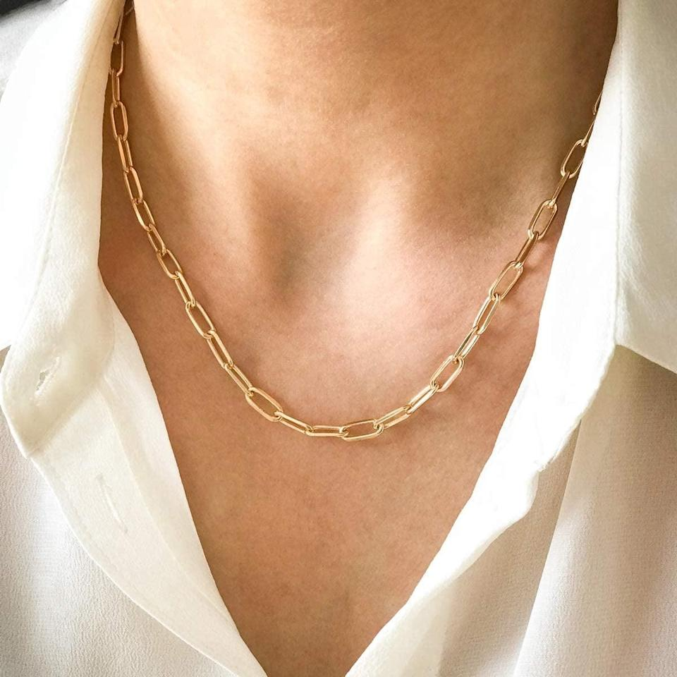 <p>The <span>Boutiquelovin 14K Gold Dainty Paperclip Link Chain Necklace</span> ($14) looks trendy layered or on its own!</p>