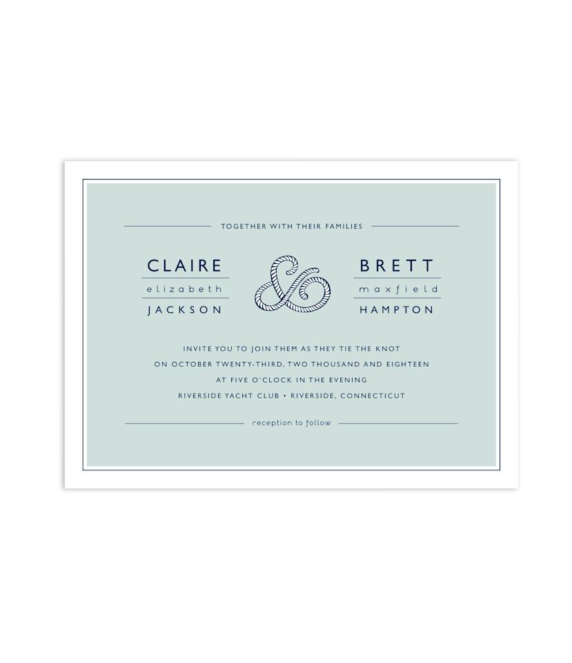 "<em>""Rope Ampersand"" wedding invitation, $234 for 100 invitations, <a rel=""nofollow"" href=""https://www.minted.com/product/wedding-invitations/MIN-75P-INV/rope-ampersand?org=photo"">Jill Means</a> ​for Minted</em>"