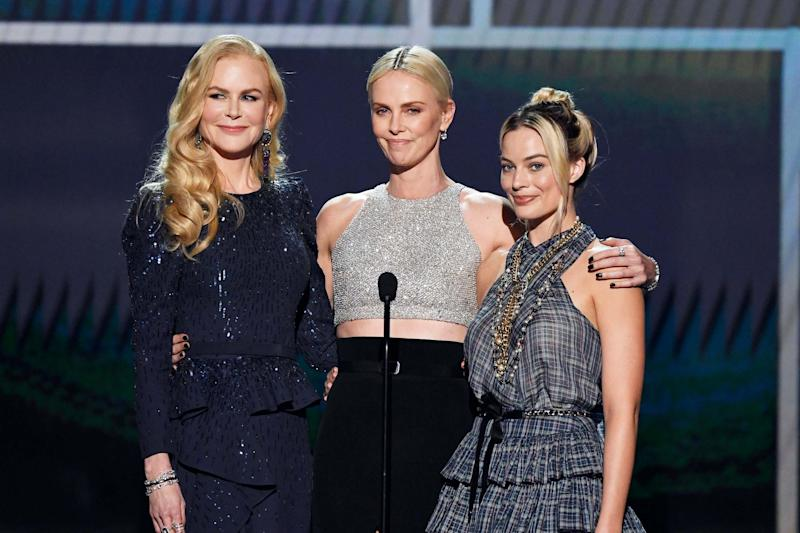 The cast of Bombshell at the SAG Awards: (L-R) Nicole Kidman, Charlize Theron, and Margot Robbie (Getty Images for Turner)