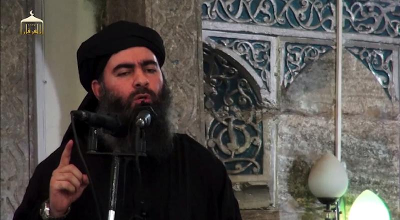 "Islamic State group chief Abu Bakr al-Baghdadi made his only known public appearance as ""caliph"" at a mosque in Mosul in 2014 (AFP Photo/-)"