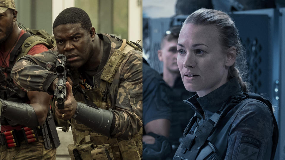 Sam Richardson and Yvonne Strahovski both play scientifically-minded characters in sci-fi blockbuster 'The Tomorrow War'. (Amazon Prime Video)