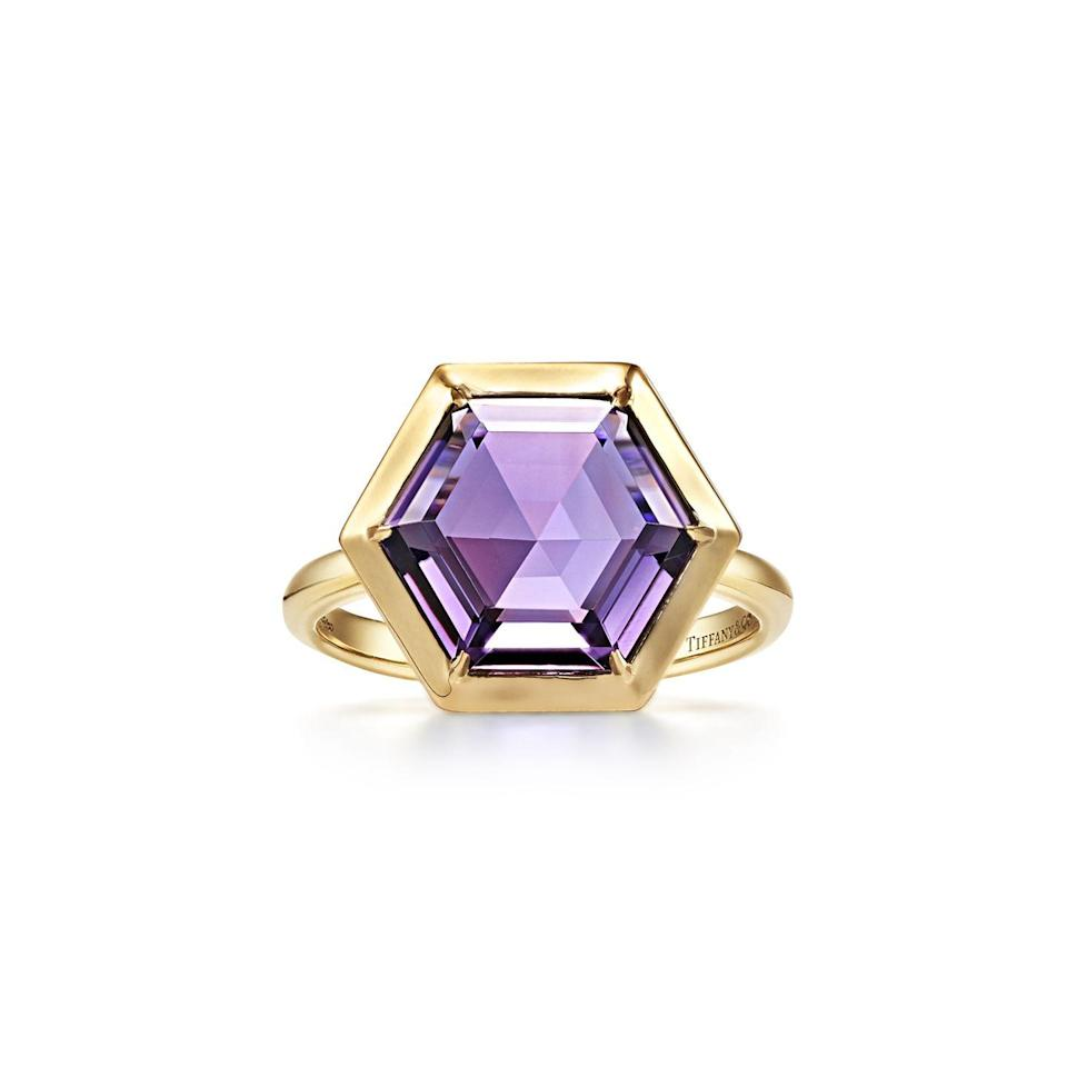 """<p><a class=""""link rapid-noclick-resp"""" href=""""https://go.redirectingat.com?id=127X1599956&url=https%3A%2F%2Fwww.tiffany.co.uk%2Fjewelry%2Frings%2Fpalomas-studio-hexagon-ring-GRP11567%2F&sref=https%3A%2F%2Fwww.townandcountrymag.com%2Fuk%2Fstyle%2Fjewellery%2Fg30674781%2Fbest-february-birthstone-jewellery%2F"""" rel=""""nofollow noopener"""" target=""""_blank"""" data-ylk=""""slk:SHOP NOW"""">SHOP NOW</a></p><p>We adore the graphic simplicity of Paloma Picasso's classic hexagon ring design for Tiffany & Co. </p><p>Gold and amethyst ring, £2,400, <a href=""""https://www.tiffany.co.uk/"""" rel=""""nofollow noopener"""" target=""""_blank"""" data-ylk=""""slk:Tiffany & Co."""" class=""""link rapid-noclick-resp"""">Tiffany & Co.</a>.</p>"""