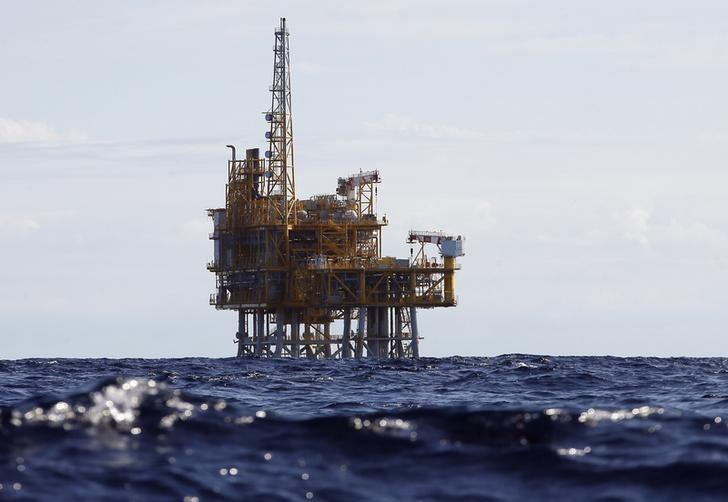 An offshore platform of the Castor gas storage project is seen off the coast of Alcanar