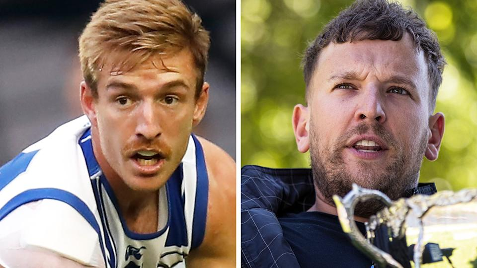 Former North Melbourne defender Sam Durdin was not happy with Dylan Alcott's joke at the Kangaroos' expense. Pictures: Getty Images